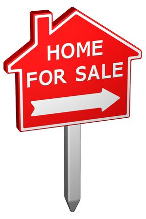 home for sale: Home for sale sign, isolated on white background. 3D rendering.