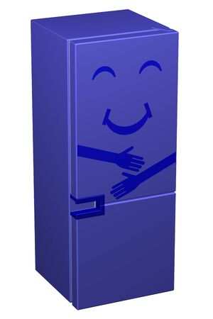 blue smiling: Blue smiling refrigerator, isolated on white background. 3D rendering.