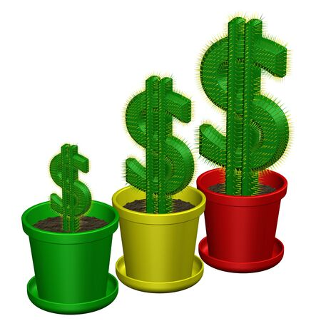 creating wealth: Concept: cactuses shaped as dollar, isolated on white background. 3D rendering.