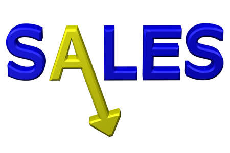 deterioration: Concept: word sales with arrow, isolated on white background. 3D rendering.