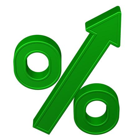 Concept: pour cent de croissance. Signe pour cent avec la flèche, isolé sur fond blanc. rendu 3D.