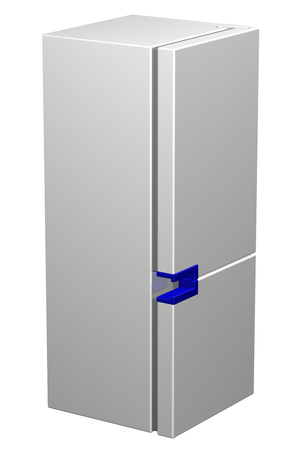 frig: White refrigerator with blue handle, isolated on white background. 3D rendering. Stock Photo