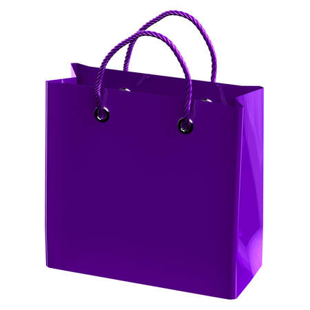 commercial event: Purple shopping bag, isolated on white background. 3D rendering.