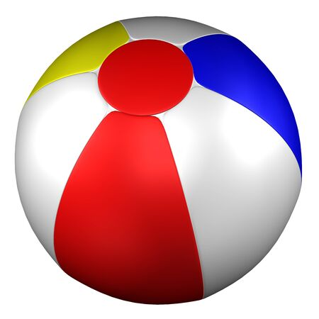 inflating: Beach Ball, isolated on white background. 3D rendering.