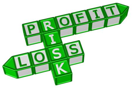 profit or loss: Bloques con la Palabra del beneficio, Riesgo, Pérdida, aislado sobre fondo blanco. representación 3D. Foto de archivo