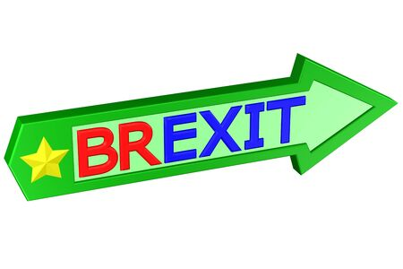 britannia: Concept: arrow with the word Brexit, isolated on white background. 3D rendering.