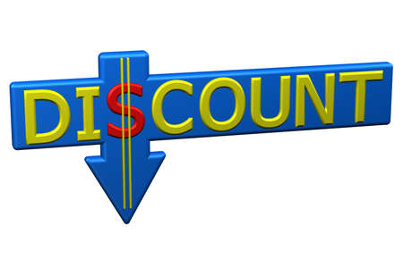 commercial event: Concept: word discount with arrow, isolated on white background. 3D rendering.