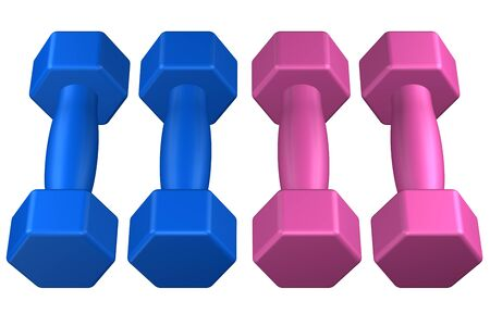 Fitness dumbbells, isolated on white background. 3D rendering. Stock Photo