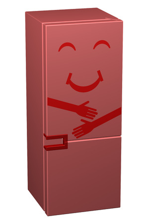 Red smiling refrigerator, isolated on white background. 3D rendering.