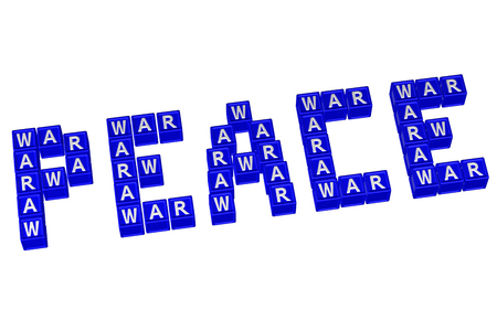 armistice: Word Peace written with blocks with letters W,A,R, isolated on white background. 3D rendering. Stock Photo