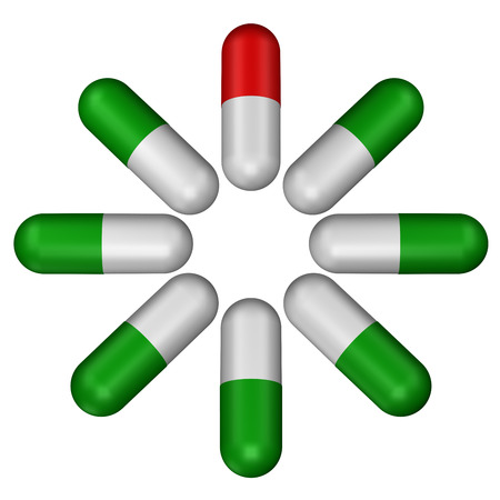 red pill: Green pills and red pill, isolated on white background. 3D rendering.