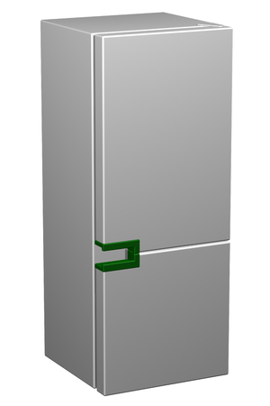 household objects equipment: White refrigerator with green handle, isolated on white background. 3D rendering. Stock Photo
