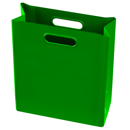 commercial activity: Green shopping bag, isolated on white background. 3D rendering. Stock Photo