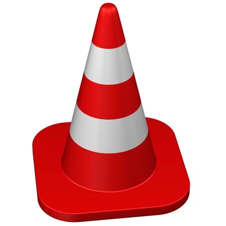 Traffic cone, isolated on white background. 3D rendering.