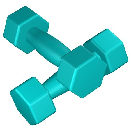 warming up: Fitness dumbbells, isolated on white background. 3D rendering. Stock Photo