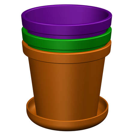 flower pots: Flower pots, isolated on white background. 3D rendering.
