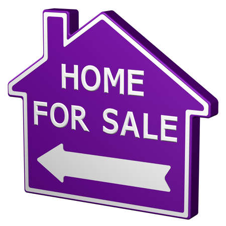 home for sale sign: Home for sale sign, isolated on white background. 3D rendering.
