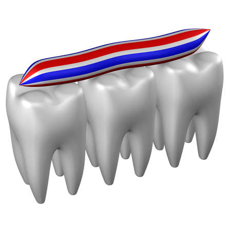 periodontal: Human teeth, isolated on white background. 3D rendering.