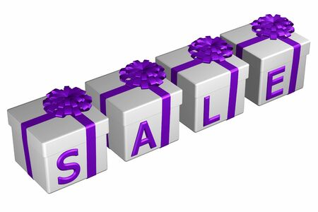 Gift boxes tied ribbon with a bow with word sale, isolated on white background. 3D rendering.