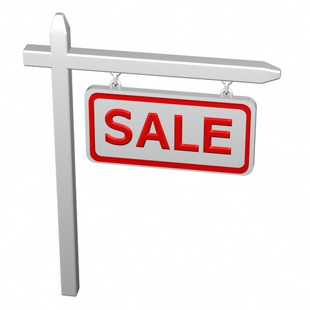 labeling: Pillar with sign sale, isolated on white background. 3D rendering.