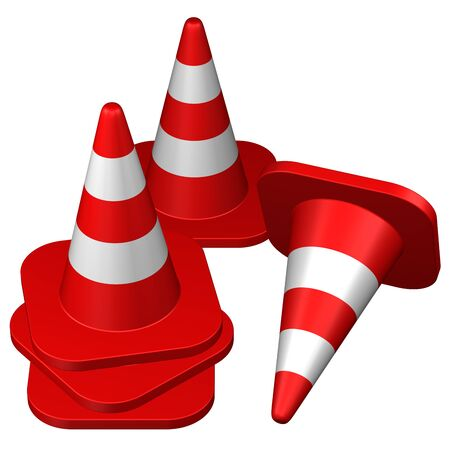 conquering: Traffic cones , isolated on white background. 3D rendering.