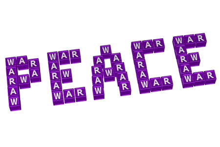 truce: Word Peace written with blocks with letters W,A,R, isolated on white background. 3D rendering. Stock Photo