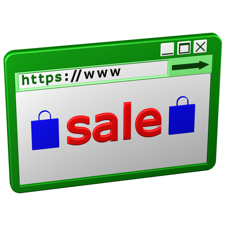https: Web Browser window with word sale, isolated on white background. 3D rendering.