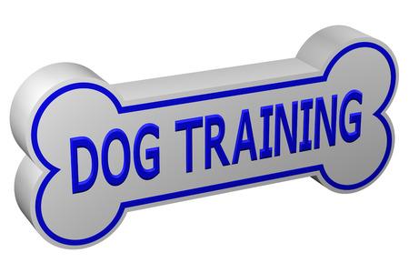 Concept: dog training. Dog bone with words - dog training., isolated on white background. 3D rendering. Stock Photo