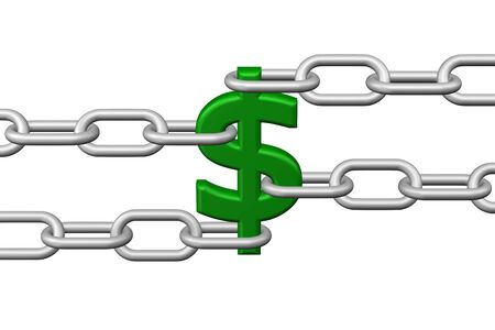 creating wealth: Dollar sign with chains, isolated on white background. 3D rendering.