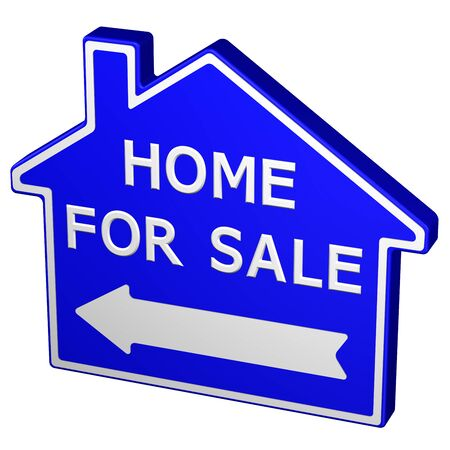 for sale sign: Home for sale sign, isolated on white background. 3D rendering.