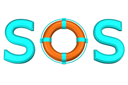 Concept: word SOS with lifebuoy, isolated on white background. 3D rendering.