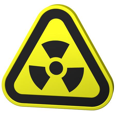 radioactivity: Radioactivity symbol, isolated on white background. 3D rendering. Stock Photo