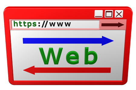 web browser: Web Browser window, isolated on white background. 3D rendering.
