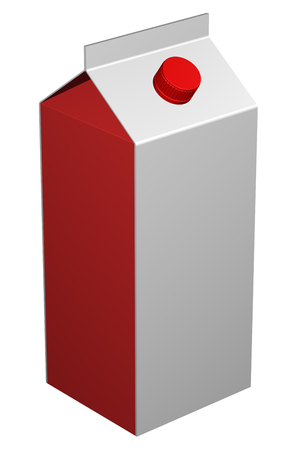 quart: Carton of milk, isolated on white background. 3D rendering. Stock Photo
