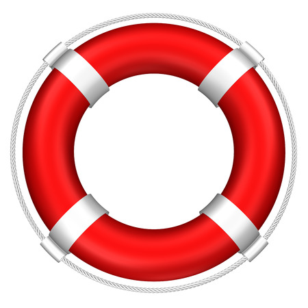 mayday: Lifebuoy with stripes and rope, isolated on white background. 3D rendering.