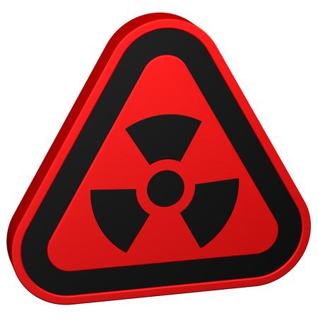 radioactivity: Símbolo de la radiactividad, aislado sobre fondo blanco. representación 3D. Foto de archivo