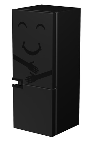 frig: Black smiling refrigerator, isolated on white background. 3D rendering.