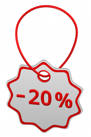 Discount - 20 % tag, isolated on white background. 3D rendering.