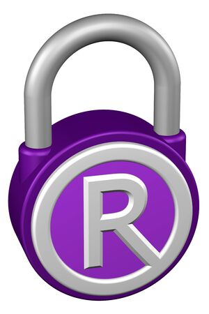 R: Concept: padlock with sign trademark. Isolated on white background. 3D rendering. Stock Photo