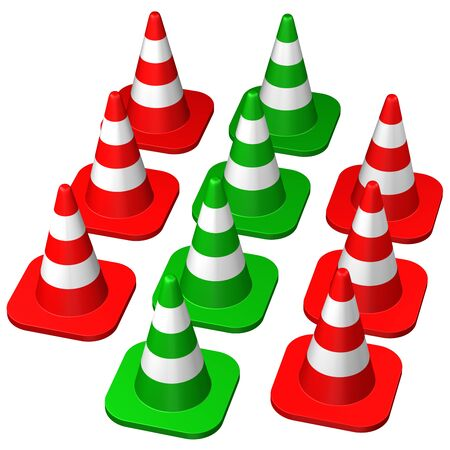conquering adversity: Traffic cones , isolated on white background. 3D rendering.