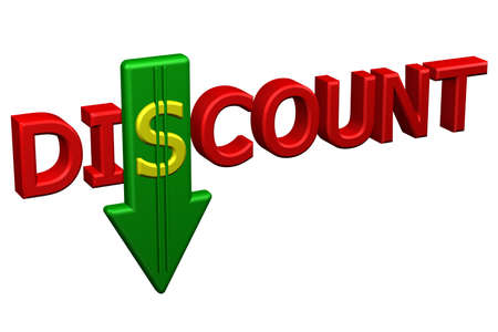 proposition: Concept: word discount with arrow, isolated on white background. 3D rendering.