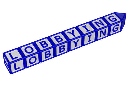 lobbying: Blocks with word lobbying, isolated on white background. 3D rendering. Stock Photo