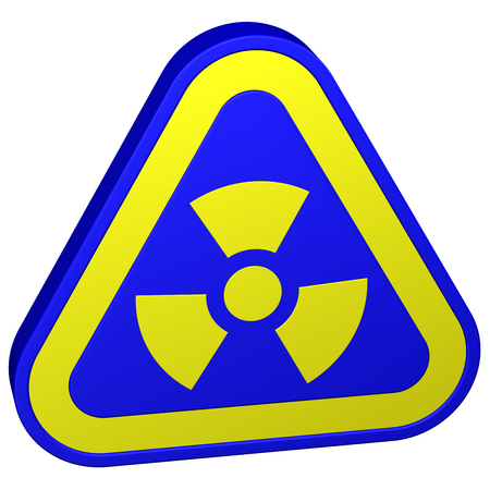Radioactivity symbol, isolated on white background. 3D rendering. Stock Photo