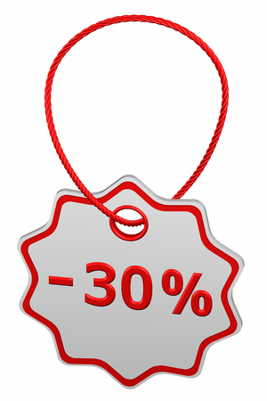 Discount - 30 % tag, isolated on white background. 3D rendering.