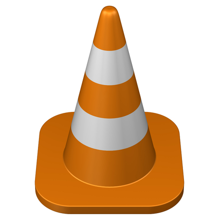 conquering adversity: Traffic cone, isolated on white background. 3D rendering.