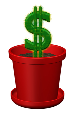 creating wealth: Concept: cactus shaped as dollar, isolated on white background. 3D rendering. Stock Photo