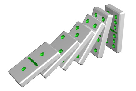 chain reaction: Concept: domino effect, isolated on white background. 3D rendering.