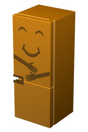 frig: Orange smiling refrigerator, isolated on white background. 3D rendering.
