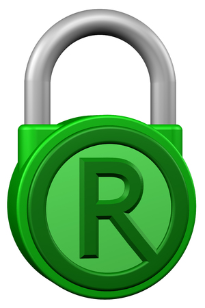 legal system: Concept: padlock with sign trademark. Isolated on white background. 3D rendering. Stock Photo