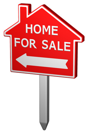 home ownership: Home for sale sign, isolated on white background. 3D rendering.